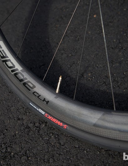 Disc-specific versions of Specialized's Roval Carbon CLX 40 wheels come as standard on the S-Works Roubaix SL4 Disc
