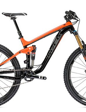 The 650b Slash has a redesigned frame that's lower and slacker than previous versions; Trek claims the new chassis is 350g lighter, too