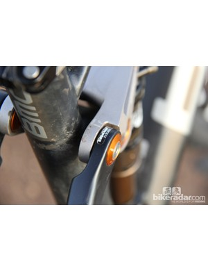 The upper link has a decal that helps to dial in the proper amount of sag on the BMC FS01 29, although we found it more useful to set up the rear suspension the old fashioned way
