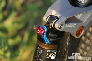 The Fox Float CTD on the BMC FS01 29 lacks the standard three-position low-speed compression adjustment knob; it's not needed on this bike. In fact, we left the shock in the fully open position almost all the time