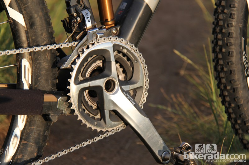 It's quite rare to find a 4in race bike equipped with a triple crankset these days. If it's more gears than you need you'll be glad to know there are two 2x10 SRAM build kits as well