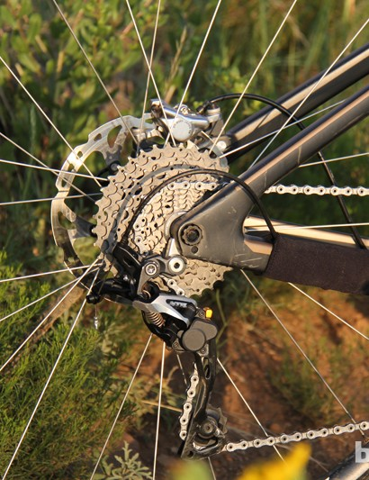 The XTR Shadow Plus rear derailleur keeps the drivetrain silent and fires off shifts with precision