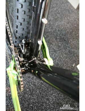 The Farley's wide bottom bracket area is built for strength – note the brace to hold the front mech in line, away from the seat tube