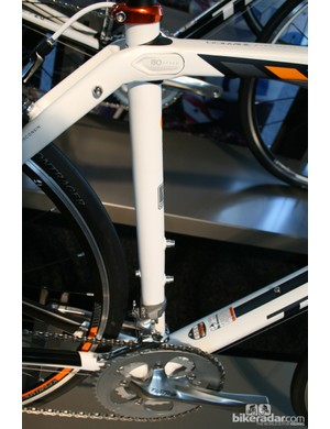 The Domane 2 Series does away with the weld on the seat tube. This 2.3 runs Shimano 105 shifters and a 10-speed Tiagra cassette, and costs £1,200 (US pricing to be announced)