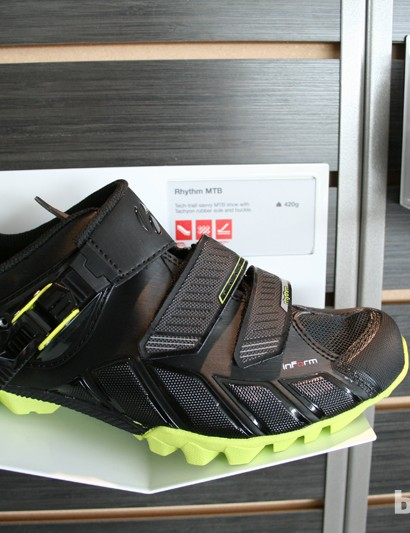 Developed with Tracy Mosely, the Bontrager Rhythm is an enduro-specific race shoe with a sole approaching XC race stiffness but relatively soft and grippy lugs and extra toe-box protection