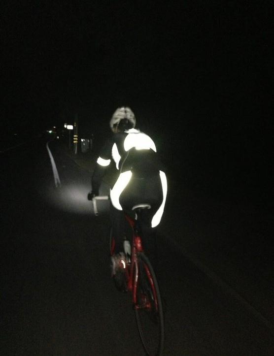 Vasconi on an early morning training ride in the new Padrone HiVis kit