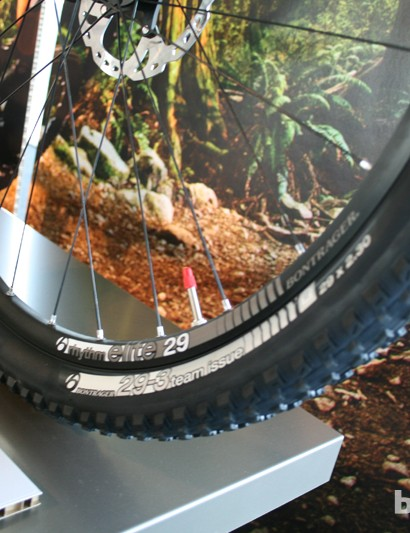 Trek's in-house component brand Bontrager provide their Rhythm Elite TLR wheels and XR3 Team Issue tubeless tyres for the Fuel EX 9.8 29