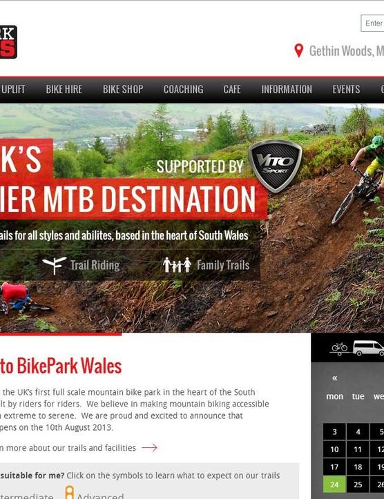 BikePark Wales website screenshot