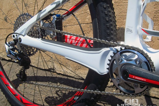 A sign of things to come: The 2014 Specialized Epic World Cup can't run a front derailleur, as its massive chainstays take up most of the available real estate
