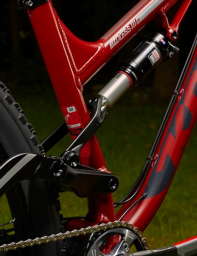 The Kona Process 111 has short, 430mm chainstays and no provision for mounting a front derialleur