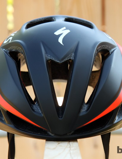 The front profile of the Specialized S-Works Evade helmet is quite trim and riddled with vents, giving little indication that it's designed as an aero lid