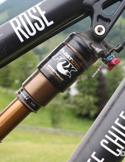 The Granite Chief's Fox Float CTD shock uses a three-position, handlebar-mounted lever