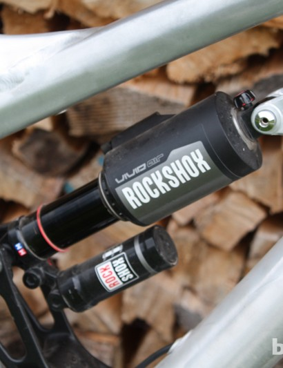 The Sky Fire uses RockShox's beefy Vivid Air shock to deliver 185mm of travel at the back wheel
