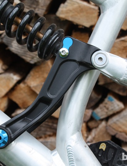 The seatstay rocker pivot on The Unchained uses two sealed bearings per side, increasing lateral support