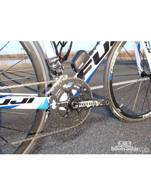 A 50/34 Rotor crank makes climbing easier on the Fuji Altamira 2.1