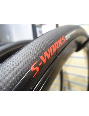 Specialized claim the new S-Works Turbo tyre, with its Gripton compound construction, is claimed to be one of the fastest tyres ever made. We like that they've gone for larger than normal 24c and 26c sizes