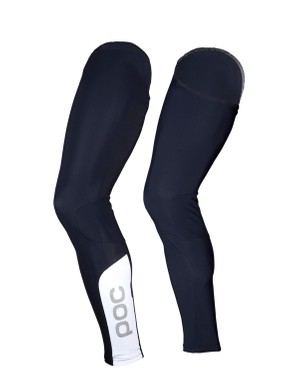 POC's Essential Leg Warmers use a black/white contrast and reflective logos to attract attention to the rider