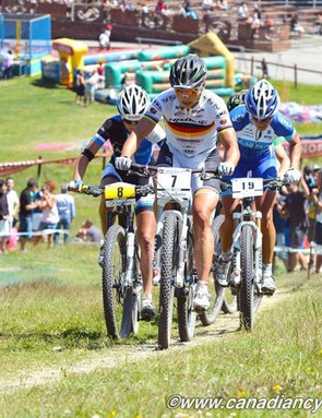 Sabine Spitz (Sabine Spitz Haibike Pro Team) ripping up the women's cross-country race