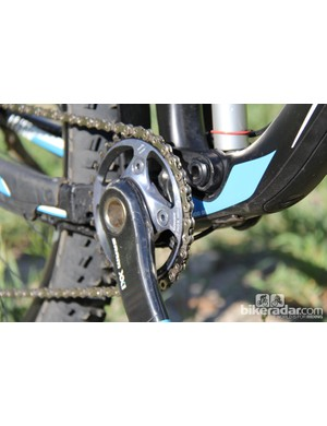 The 2014 Giant Trance Advanced 0 is equipped with SRAM's XX1 group. Up front there's a single 32T chainring