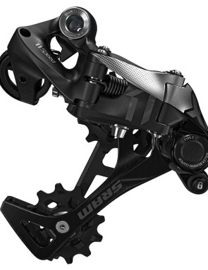The SRAM X01 rear derailleur also has Cage Lock (the small button towards the front of the derailleur), which disengages the clutch to make wheel removal and installation easier