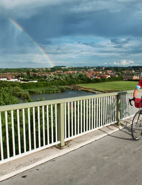 The sun was shining on London Edinburgh London riders heading over the Humber Bridge