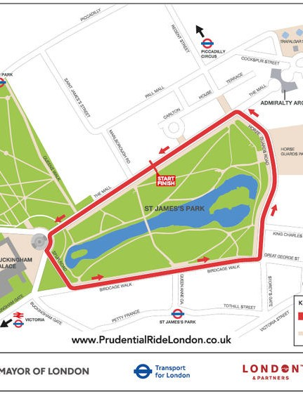 The route of the Prudential RideLondon Grand Prix