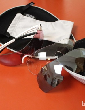 Each pair of Smith PivLock V2 Max glasses comes with three lenses – clear, Ignitor (the rose lens shown in the frame here), and another color mirror, such as reflective silver