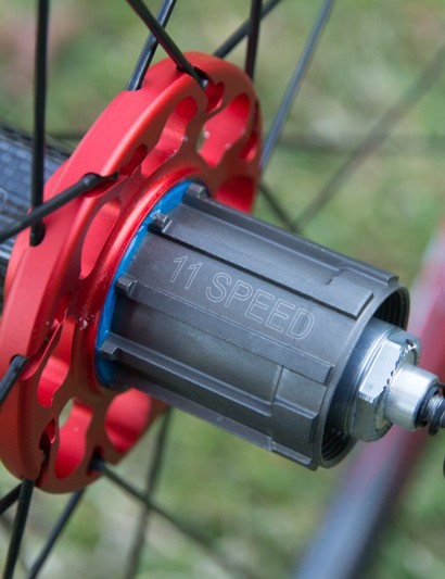 An 11-speed freehub body on the Fulcrum Racing Light XLR, although a 10-speed spacer is included if needed