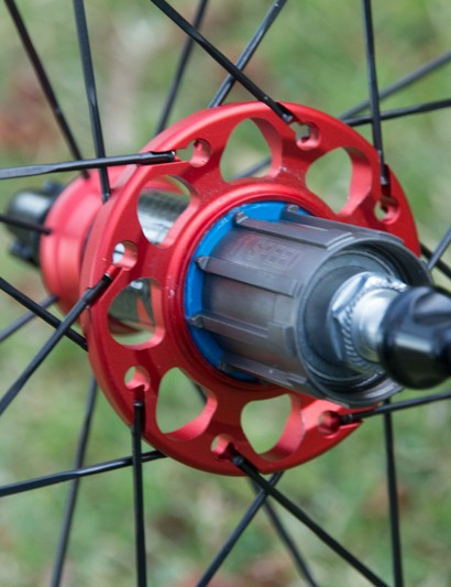 The large driveside hub flange creates a stiffer wheel for Fulcrum