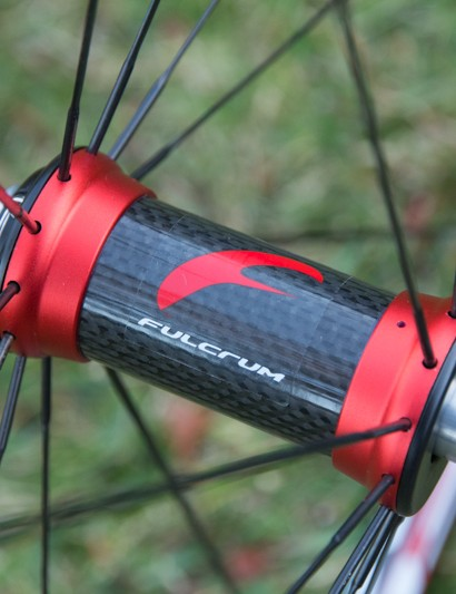 The Fulcrum Racing Light XLR wheelset features carbon-shelled hub bodies front and rear