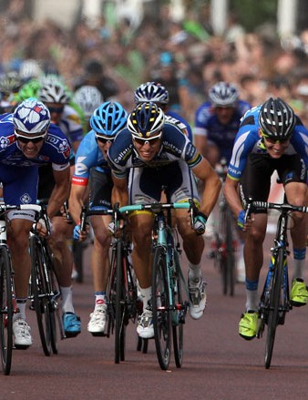 The sprint for the line in the Prudential RideLondon-Surrey Classic