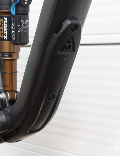 An integrated down tube bashguard is standard on the Marin Attack Trail