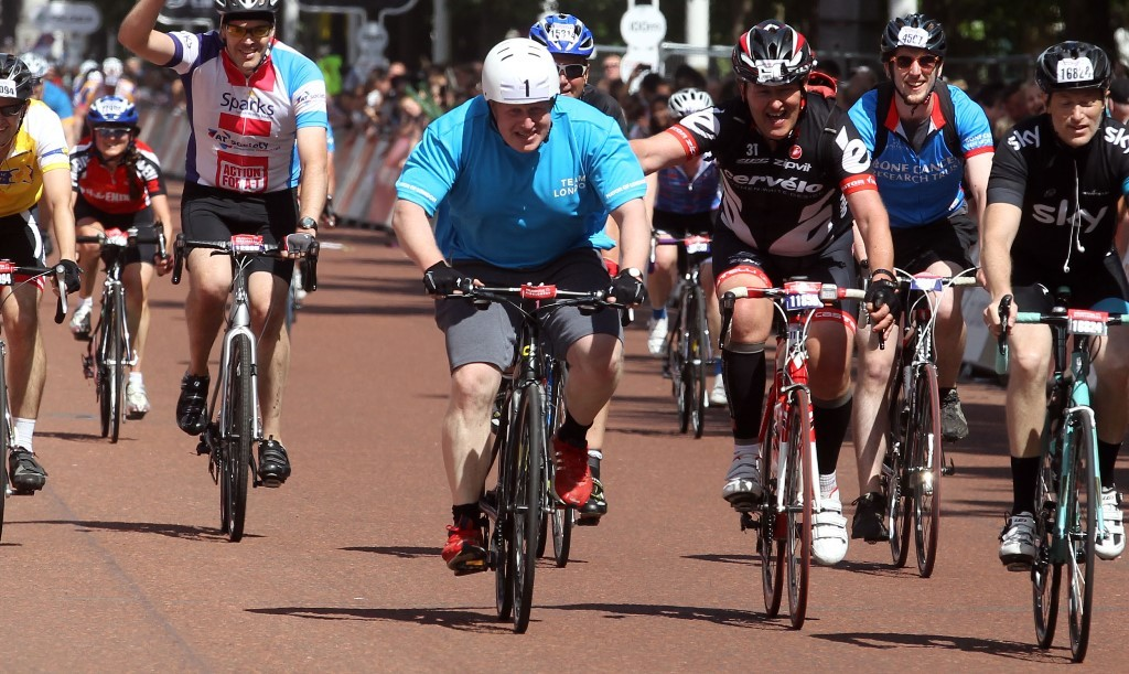 Mayor Boris Johnson completing the Prudential RideLondon-Surrey 100 sportive
