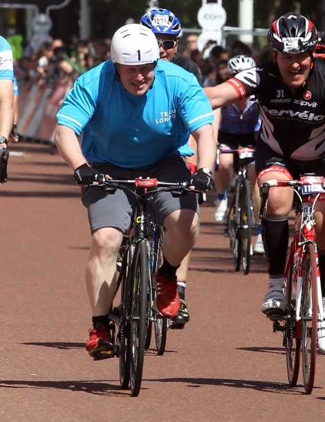 Mayor Boris Johnson completing the Prudential RideLondon-Surrey 100 sportive