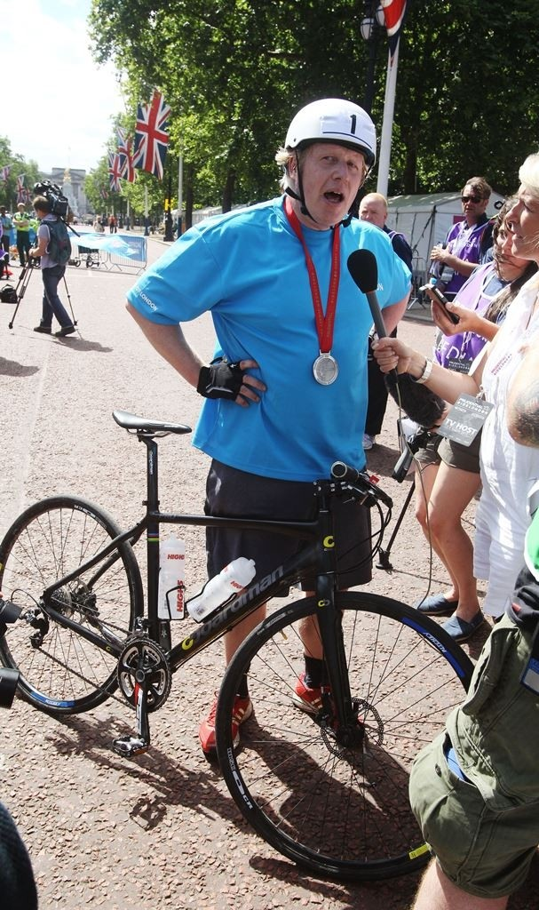 Boris Johnson speaking after completing the Prudential RideLondon-Surrey 100 sportive