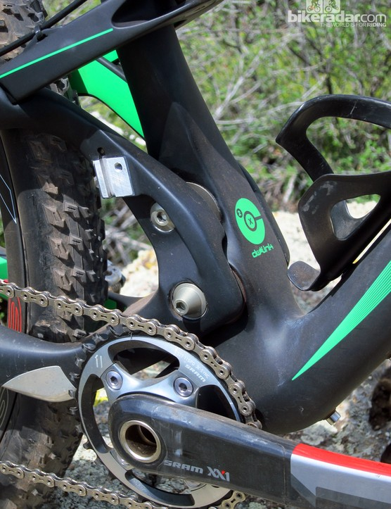 Ibis worked with Dave Weagle to miniaturize the dw-link suspension system, trading in the usual pair of links for two eccentrics that are wholly contained within the seat tube
