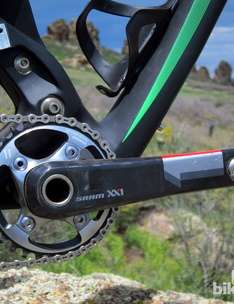Our test Ibis Ripley 29 arrived with SRAM's fantastic XX1 1x11 drivetrain, but in the event you'd rather run a front derailleur (or one of MRP's ultralight guides) there's a direct mount socket high up on the swingarm