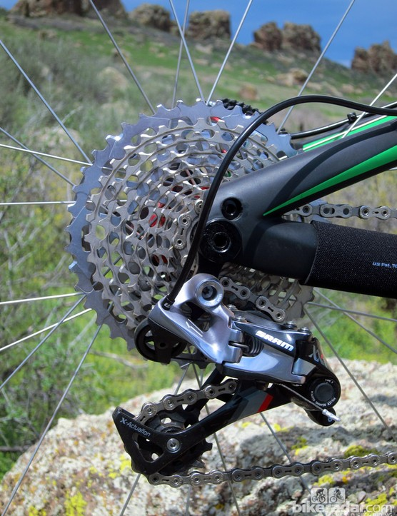 The SRAM XX1 rear derailleur is bolted to a replaceable hanger; 142x12mm thru-axle dropouts help tie the rear end of the Ibis Ripley 29 together