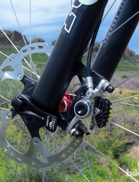 Our test bike uses a 180mm-diameter front rotor for more stopping power