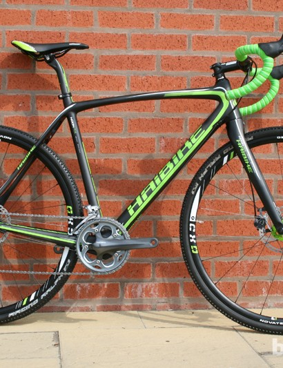 At £2,200 the Haibike Noon RX cyclocross bike has a full-carbon frame. Claimed weight for the complete bike (no pedals) is 7.9kg. Also available is the aluminium framed SL, at £1,300