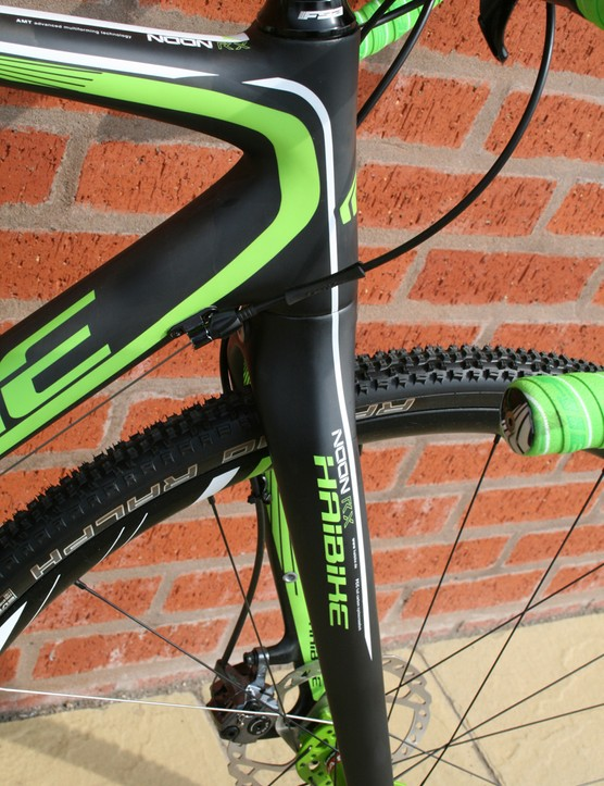 The Haibike Noon RX has a tapered carbon, disc-specific fork