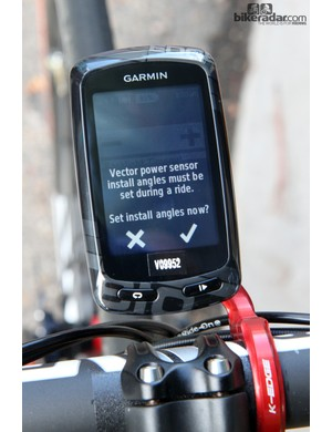 Initial setup of the Garmin Vector is refreshingly simply, with easy-to-follow on-screen prompts on updated Garmin Edge 510 and 810 computers