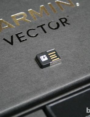 The firmware for the Vector pedals can be upgraded via this wireless USB stick