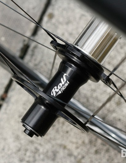 Just 16 bladed spokes are used on the rear Rolf Prima Vigor Alpha wheel