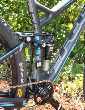 The use of high direct-mount front derailleurs (not needed with SRAM's X01 drivetrain) allowed Felt's engineers to keep the Virtue's chainstay length in check