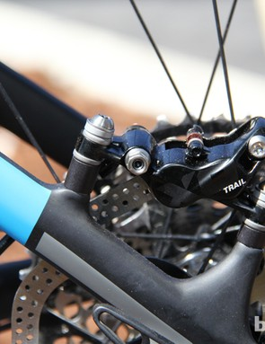 The Virtue Nine uses post-mount disc brake tabs and comes with 180mm front and rear rotors