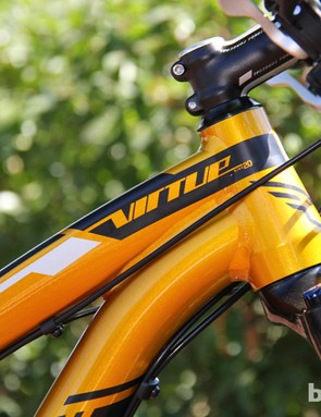 The Virtue Nine has a 69-degree head tube angle, making it one of the steeper 29er trail bikes on the market