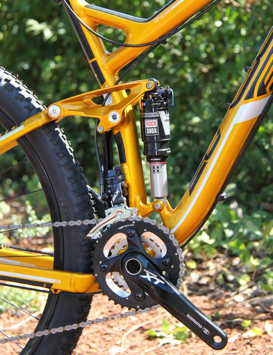 The Virtue Nine 20 has a Shimano XT drivetrain and RockShox suspension