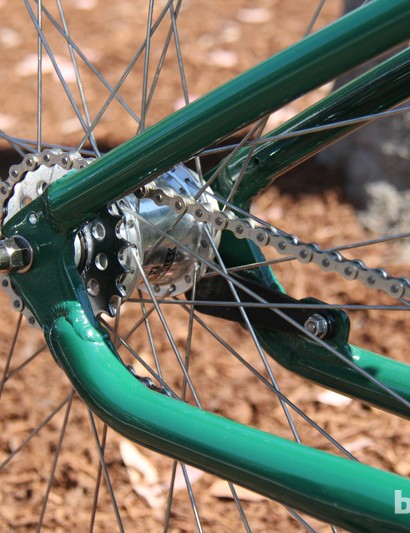 The Felt Rail 29 comes with a two-speed kickback Sturmey Archer rear hub