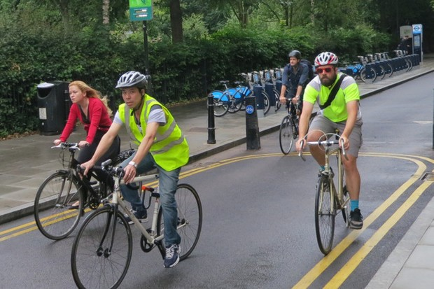 London cyclists near the new sensor